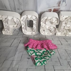 Roxy Teenie Wahine green pink polka dot bottoms 2T